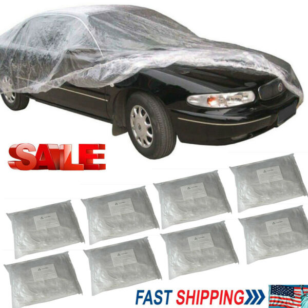 Lot PACK Clear Plastic Temporary Universal Disposable Car Cover Rain Dust Garage $31.93