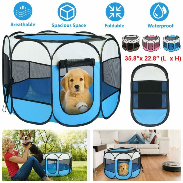 Foldable Pet Cat Dog Cage Fence Portable Puppy Tent Playpen Kennel Crate House $26.71