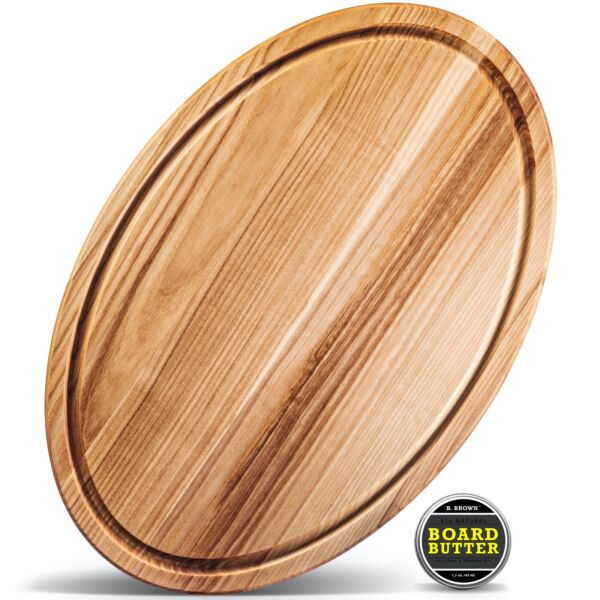 B.Brown LARGE Wood OVAL Cutting Board With Juice Groove For Kitchen 17.5x11.5 in