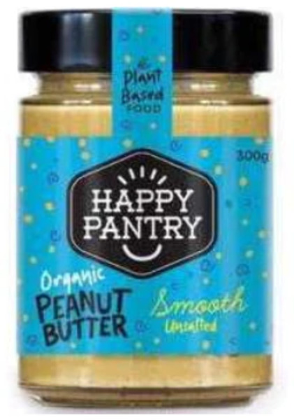 Happy Pantry Organic Peanut Butter Unsalted Smooth 300g x 6