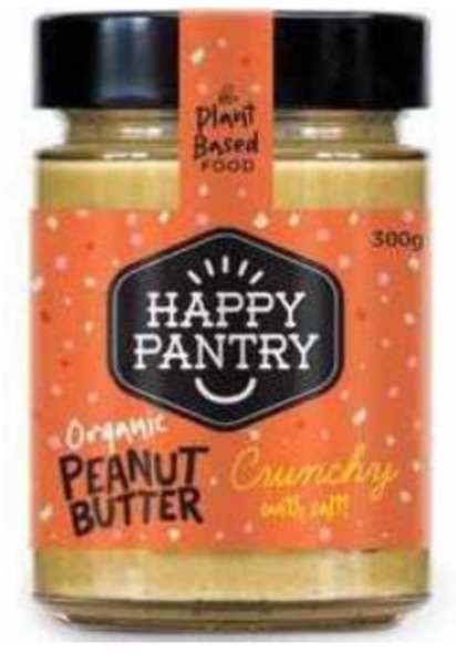 Happy Pantry Organic Peanut Butter Salted Crunchy 300g x 6