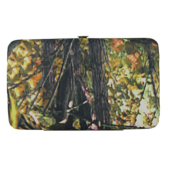 BLACK TRIM WESTERN MOSSY CAMO LOOK FLAT WALLET COUNTRY WESTERN FASHION BIFOLD