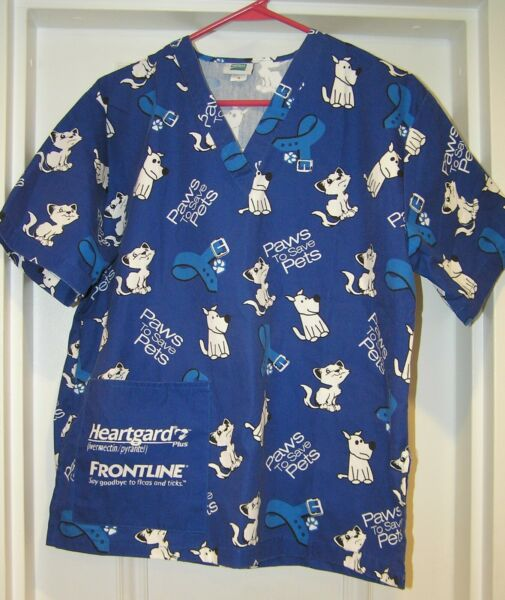 SCRUBS TOP DOGS PAWS TO SAVE PETS HEARTGARD FRONTLINE L LARGE BLUE WHITE 79494 $12.99
