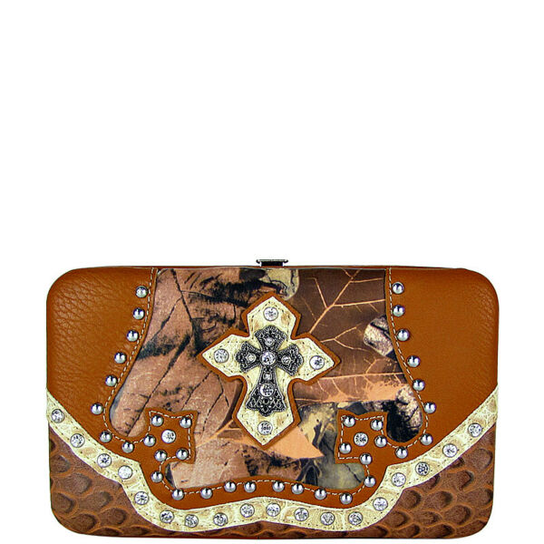 BROWN MOSSY CAMO RHINESTONE MONTANA WEST RHINESTONE BLING CROSS BIFOLD WALLET