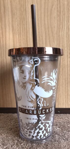 RARE Limited Starbucks Pike Place with Original Mermaid Logo 16oz. Tumbler