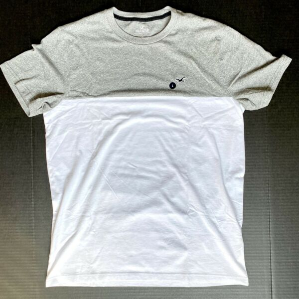 Hollister Men#x27;s Must Have Collection Grey And white T shirt Size L New With Tags $14.00