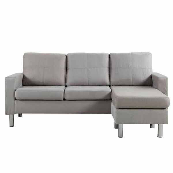 Modern Microfiber Sectional Sofa Small Space Configurable Grey $289.99
