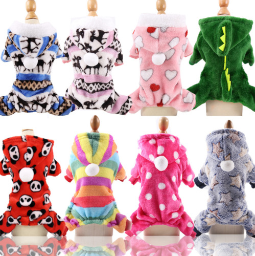 Cute Warm Fleece Dog Jumpsuit Pajamas Clothes Puppy Dog Sweater Cat Coat Costume $8.99