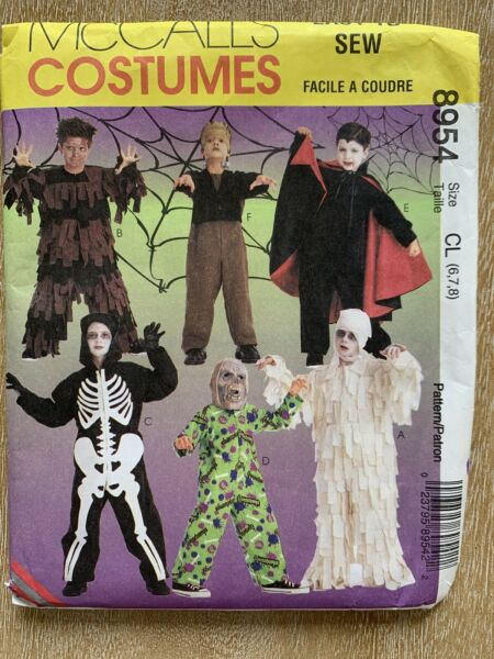 McCall#x27;s Sewing Pattern 8954 Kids Scary Costumes Sizes 6 8 Mummy Skeleton
