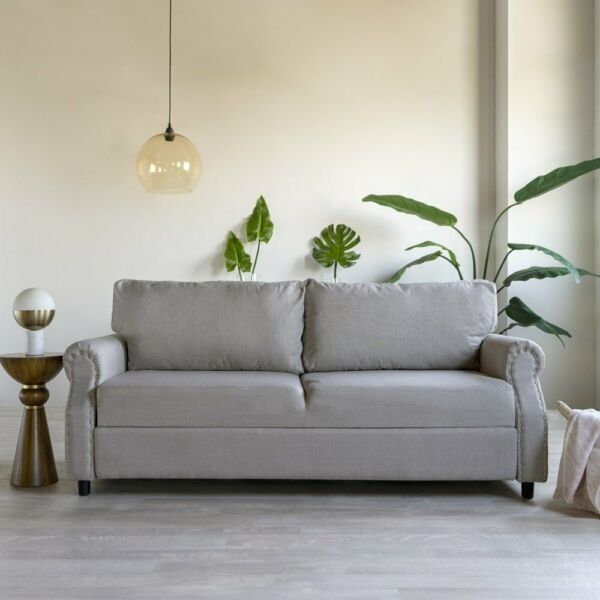 Classic Living Room Linen Sofa with Nailhead Trim and Storage Light Grey $299.99
