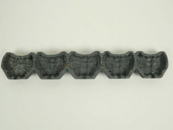 Antique Cast Iron 5 Well Butterfly Mold Candy Wax Cookies 1 1 2x2 1 4quot; Marked JT