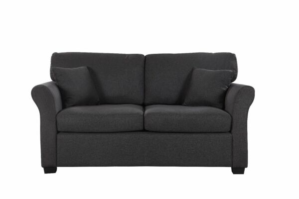 Dark Grey Modern Sofa Linen Upholstered Small Loveseat Couch 2 Accent Pillows