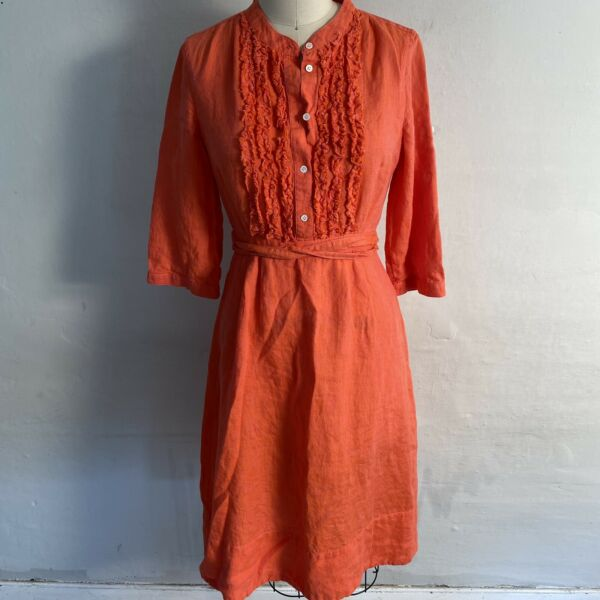 J.Crew Coral Pink 100% Linen Fit amp; Flare Shirt Dress Womens Size 4 $20.99