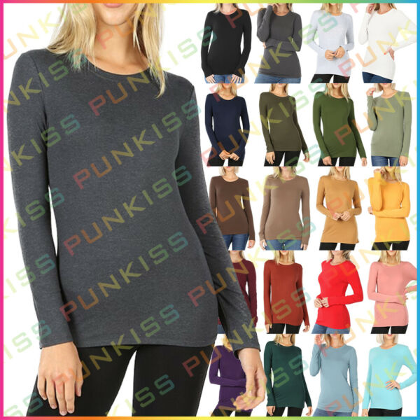 Womens Round Neck Long Sleeve Shirt Top COTTON Thermal Winter Gym Solid Basic $9.90
