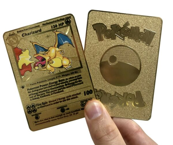 Pokemon 1st Edition Charizard Shadowless Gold Metal Card $13.99