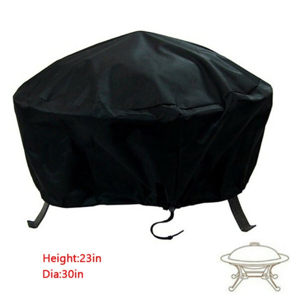 Patio Round Fire Pit Cover Waterproof UV Protector Grill BBQ Cover 30#x27;#x27; Black US $9.99