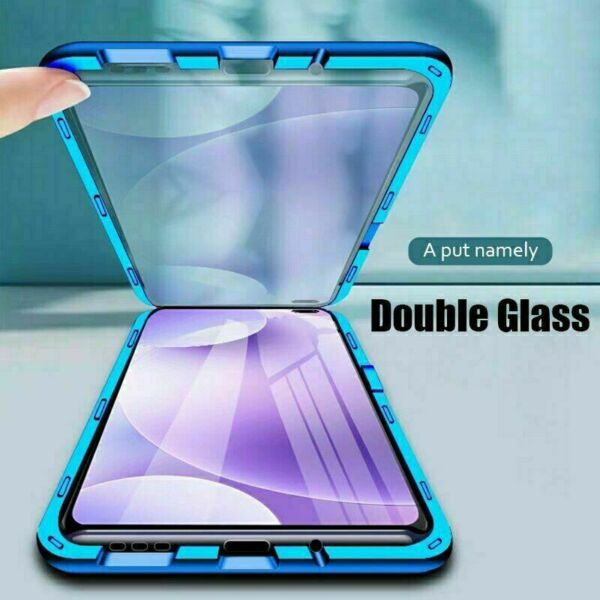 Double Glass Case For Xiaomi Redmi Note 9 9S 8 Pro 10 8A Magnetic Metal Cover