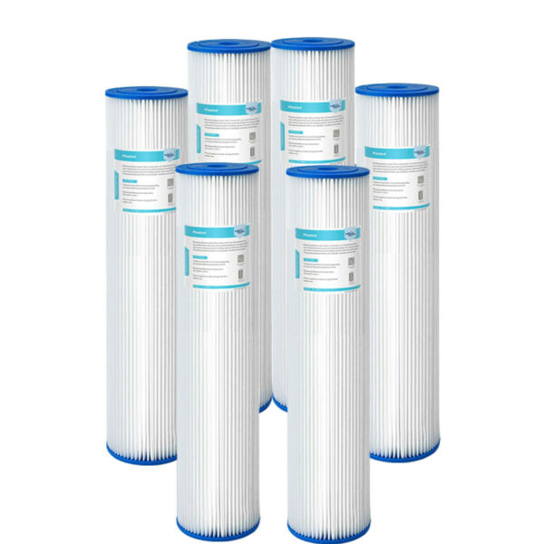 20quot;x4.5quot; Whole House Big Blue Pleated Sediment Water Filter 5 Micron 2 6PK $37.99