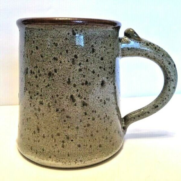 Hand Thrown Pottery Mug Neutrals Greys Browns Artist Signed 16 Ounces $22.50