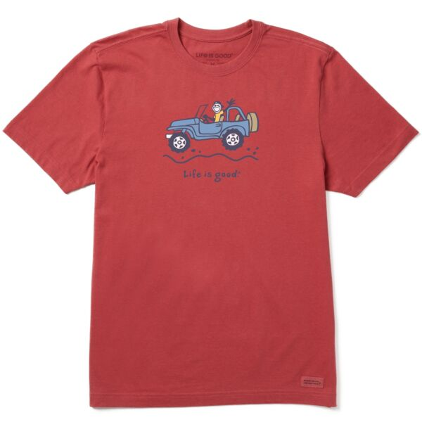 Life is Good Men#x27;s Off road Jake Vintage Crusher Tee Faded Red