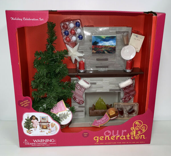 Our Generation Holiday Celebration Set Christmas Tree amp; Fireplace 18quot; Doll AG