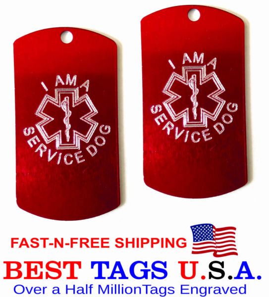 I AM A SERVICE DOG Personalized and Engraved Set of 2 Made in USA FREE Shipping $0.99