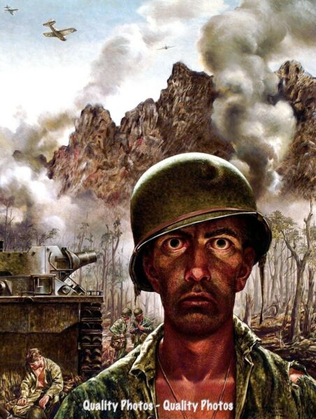 2000 Yard Stare 8.5x11quot; Photo Print Tom Lea American Soldier Painting Art