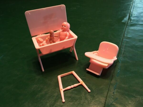 Vintage original plastic dollhouse baby furniture for tin dollhouse $13.00