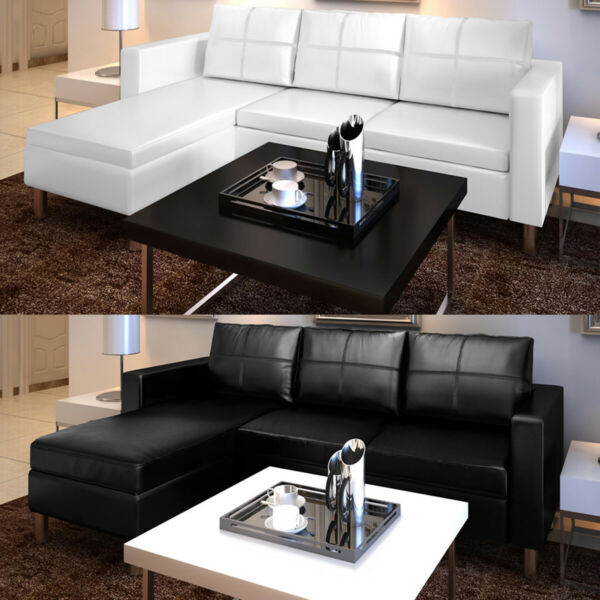 vidaXL Sectional Sofa 3 Seater Faux Leather Home Couch Seating Black White $394.99