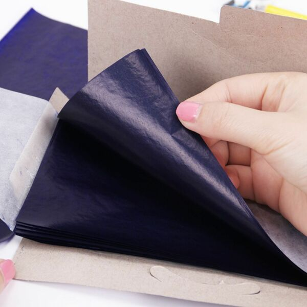 50PCS Double Sided Blue Carbon Paper 48K Thin Kind Finance Office Stationery $5.84