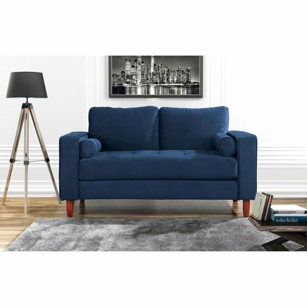 Velvet Fabric Love Seat Sofa with Back Cushions and Bolster Pillows Navy Blue $219.99