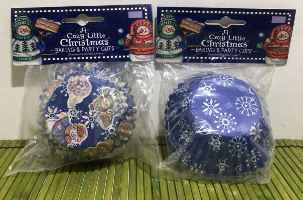 Set of 2 Vintage Christmas Cupcake Liners Grease Resistant Brother Sister 1999
