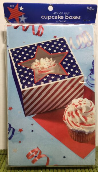 Patriotic Bakery Individual Cupcake Boxes 6 Count Brother Sister 4th of July