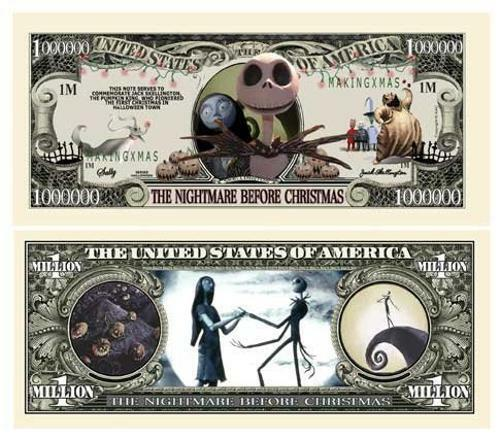 Pack of 25 Nightmare Before Christmas Jack Skellington Collectible Dollar Bill