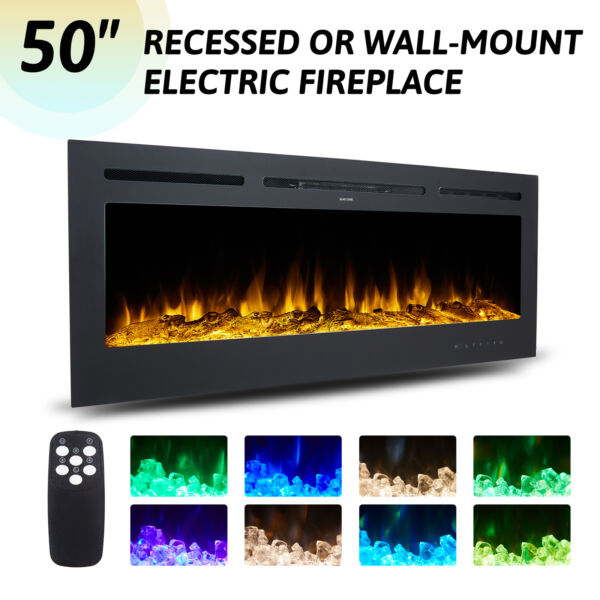 50quot; Electric Fireplace Recessed Wall Mounted 750W 1500W Embedded Space Heater