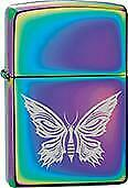 Zippo Windproof Metal Fire Lighter Silver Butterfly on Metallic Rainbow Base