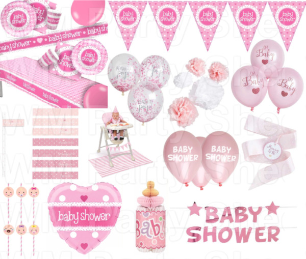 Pink Baby Shower Party Supplies Tableware Decorations Banner Plates Cups Girl