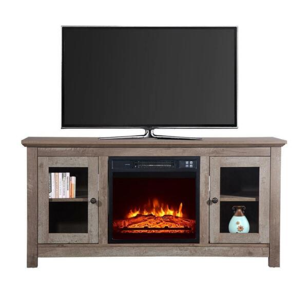 New 51quot; Wood Cabinet TV Stand Electric Fireplace Heater Timer Remote Control US