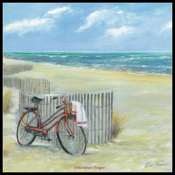 Bike to the Beach Chart Counted Cross Stitch Patterns Needlework DIY DMC $13.99