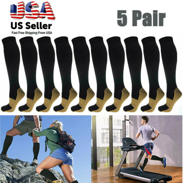 5 Pairs Compression Socks 20 30mmHg Copper Fit Knee High Energy Support Recover