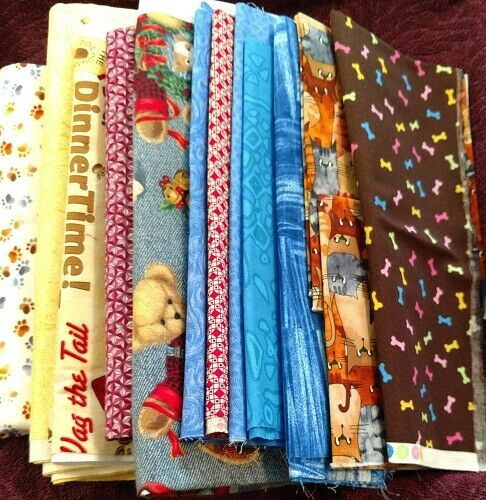 Lot Fabric NEW DOG PATTERNS WITH A VARIETY QUILT MASKS FABRIC 3.LBS 4 OZ 🌺💕 $24.99