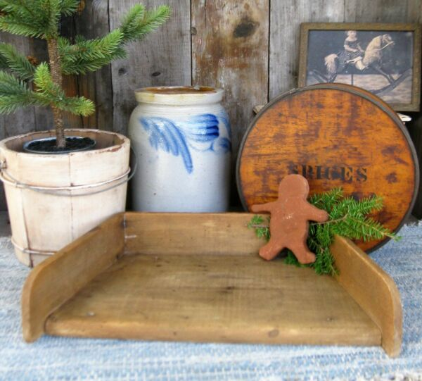 Small Antique Herb Chopping Board with Gallery Sides Wood Bread Cutting Board