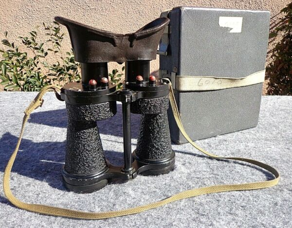 WWII RAF Mk. IV Observation Binoculars w Case Fixed Focus Excellent Condition