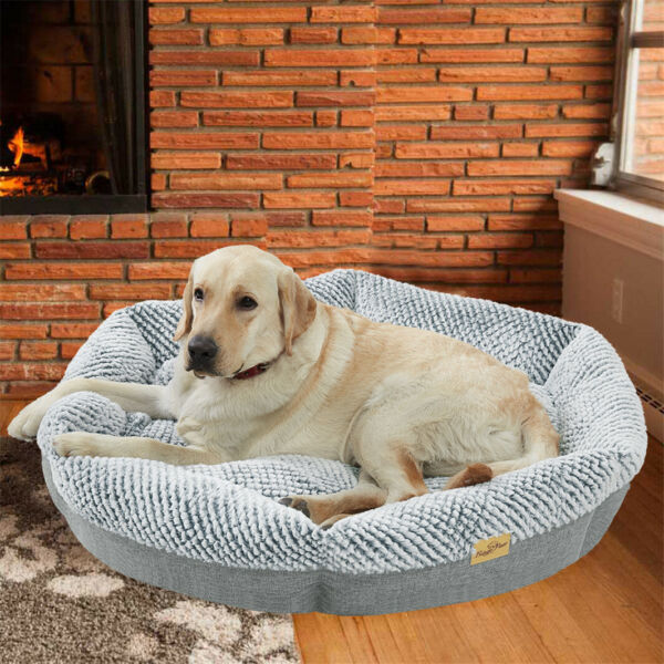 Ultra Soft Large Dog Bolster Bed Lounger Crate Pillow Bed Mat Waterproof Lining $26.97