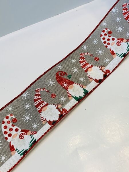 "5 Yds 2 1 2"" Wired White amp; Red Glittered Gnomes On Grey Faux Burlap Ribbon"