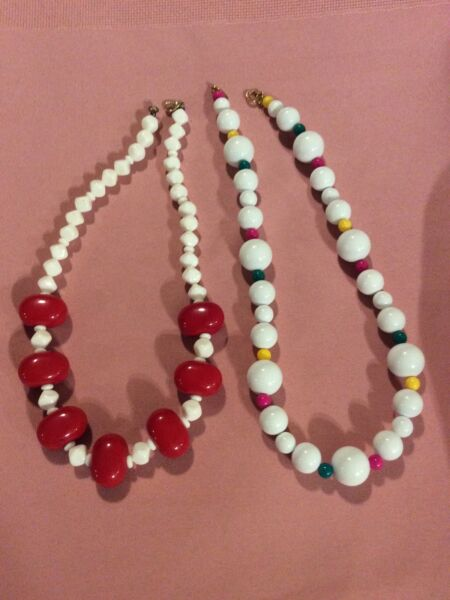 Lot 2 Fancy Large Bead Necklaces Red White Yellow amp; Green #3A $10.99