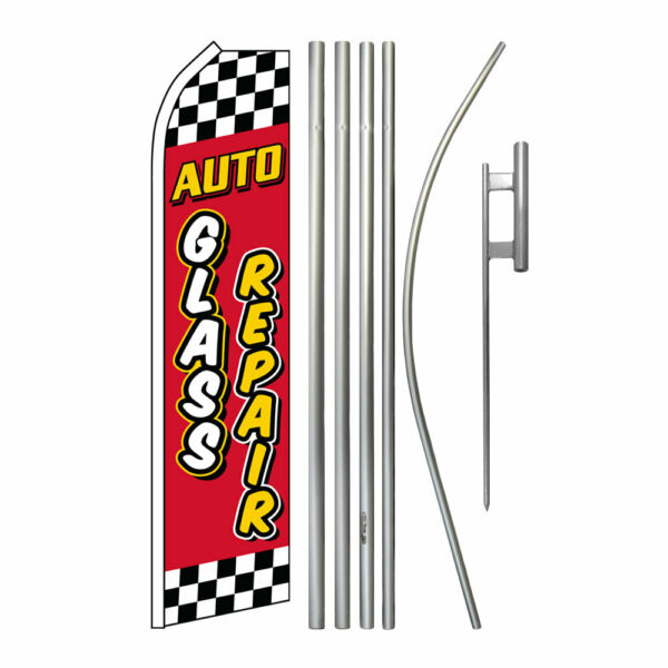 Advertising Swooper Flag Pole Kit Feather Flutter Banner Sign Auto Glass Repair