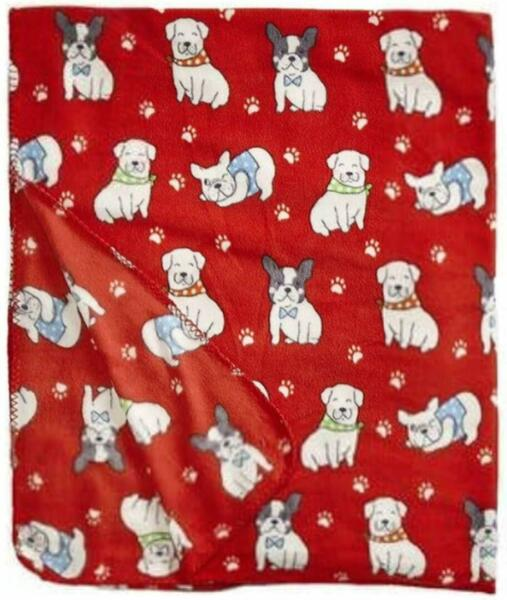 New Super soft DOGS Prints Fleece Throw Blanket size 50quot;x60 RED $14.99