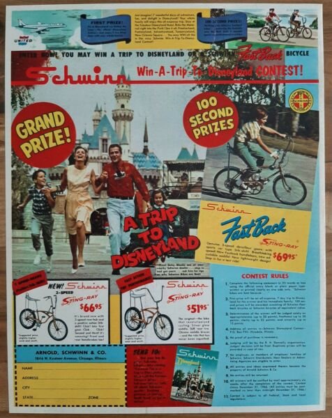 VINTAGE 1966 SCHWINN 3 SPEED STINGRAY FASTBACK STINGRAY DISNEYLAND ADVERTISEMENT $5.99