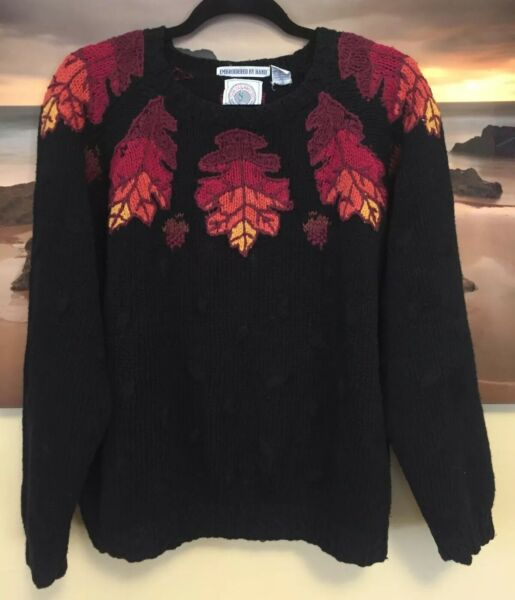 VTG Cape Isle Knitters Embroidered Fall Leaves Multicolored Sweater Heavy Large $20.00